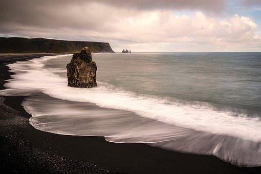 Iceland, Sunset, Dusk, Sea, Ocean, Water, Waves