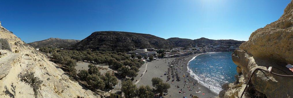 Matala, Crete, Beach, Panorama, Sun Loungers, Bathing