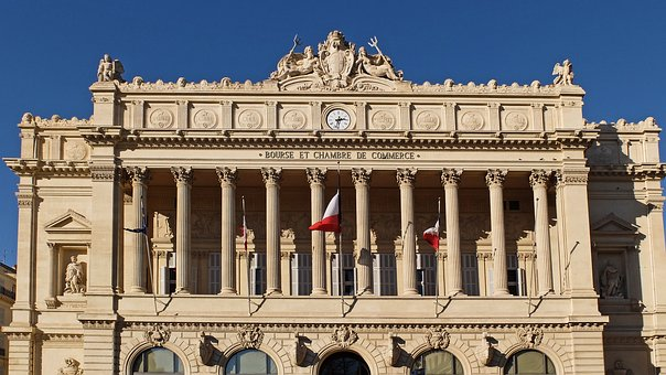 Marseille, Chamber Of Commerce, Flag, Columns, Bourse