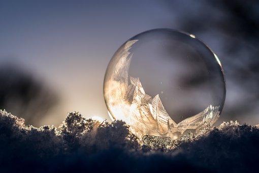 Soap Bubble, Frozen, Frozen Bubble, Eiskristalle