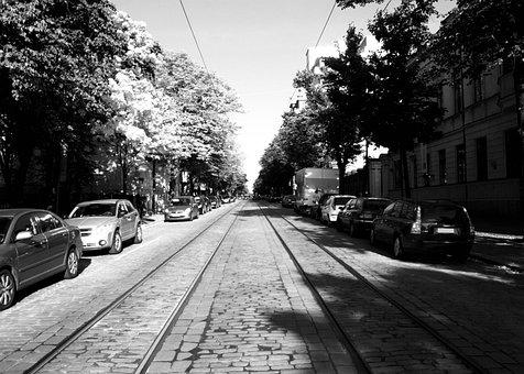 Helsinki, City, Street, Boulevard, Black And White