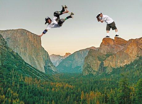 Skateboarding, Skater, Composing, Landscape, Handplane