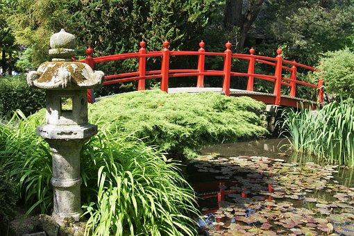 Bridge, Japan, Japanese Garden, Park, Wooden Bridge