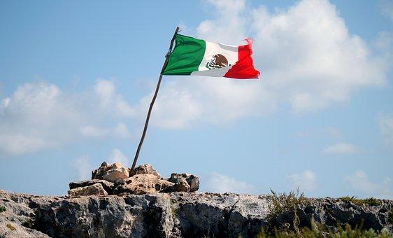 Mexico, Flag, Mexican Flag, Pierre, Sky, Blue, Rock