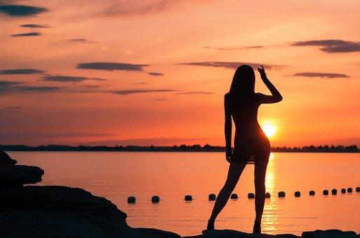 Profile, Sunset, Sunshine, Woman, Digital, Put Forward