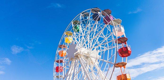 Ferris Wheel, Amusement Park, Colorful, Sky, Nice