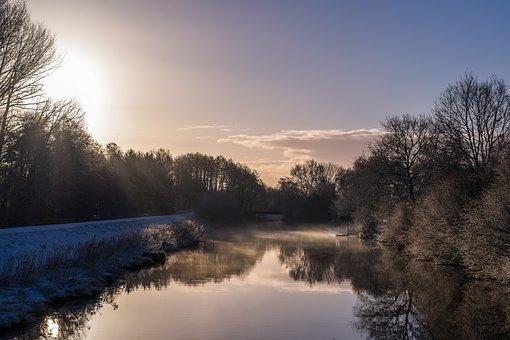 Sunrise, Landscape, Snow, Winter, Nature, Skies, Sky
