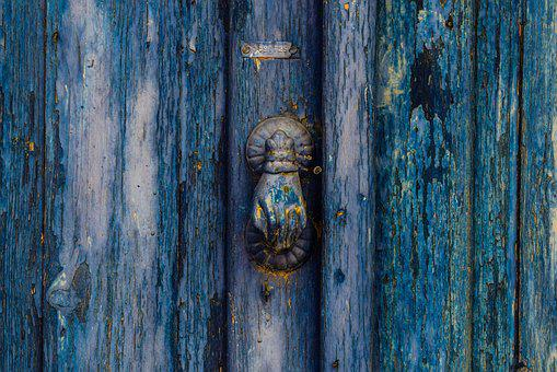 Old Door, Wooden, Blue, Knocker, Aged, Rusty, Weathered