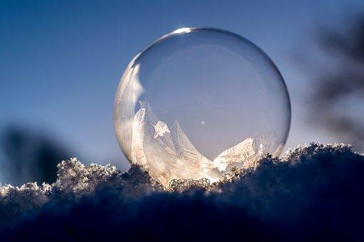 Soap Bubble, Frozen, Frozen Bubble, Winter