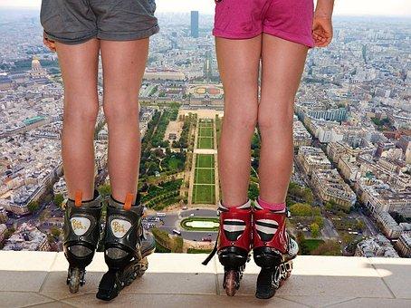 Girl, Skates, Dangerous, Abyss, Risk, Courageous