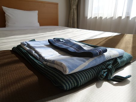 Kimono, Set, Hotel, Hospitality, Japan, Hostel, Bed