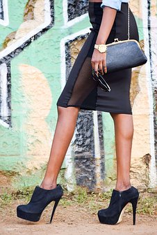 Ankle Boots, Black Shoes, Black Heels, Mesh Skirt