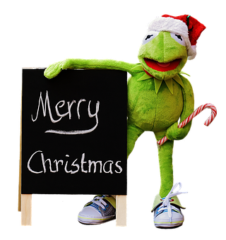 Kermit, Frog, Isolated, Christmas, Santa Hat, Cute