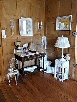 Living Room, Vintage, Old Furniture, Nostalgic, Desk