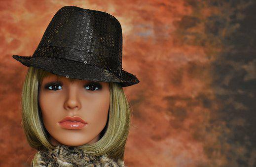 Woman, Hat, Black, Sequins, Face, Carnival, Doll