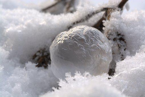 Soap Bubble, Frozen Bubble, Frozen, Wintry, Cold, Snow