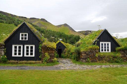 Skogar, Museum, Iceland, Grass Roofs, Houses, Travel