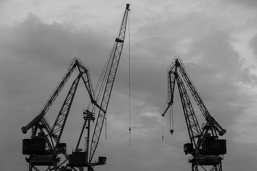Crane, Industry, Port, Export, Silhouette