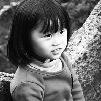 Kids, Black And White, Child, Girls, Asia, Face