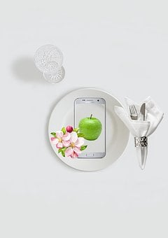 Diet, Good Intent, Cutlery, Apple, Apple Blossom, Knife