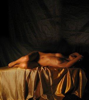 Naked Woman, Bella, Gold, Naked, Women, Art, Photo