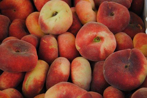Peach, Peaches, Fruit, Market, Saturn Peach
