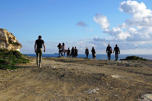 People, Group, Hiking, Malta