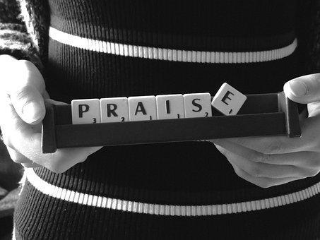 Praise, Word, Scrabble, Message, Stick, Black White