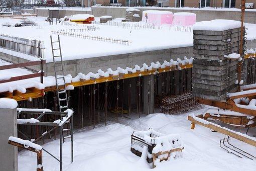 Site, Winter, Winterpause, Reinforcement, Concrete