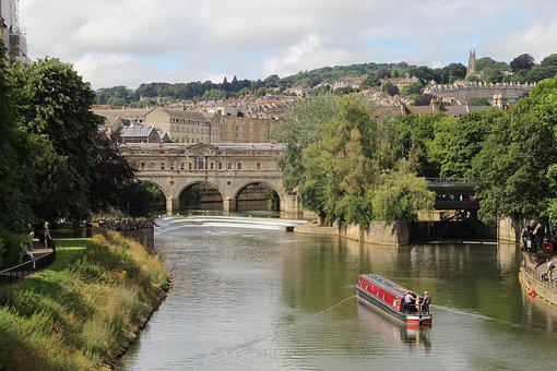 Bath, England, River, Avon, English, United, Britain