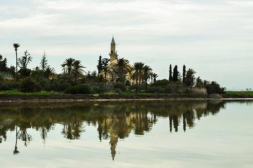 Cyprus, Larnaca, Hala Sultan Tekke, Salt Lake