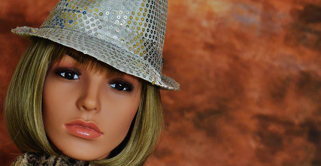 Woman, Hat, Silver, Sequins, Face, Carnival, Doll