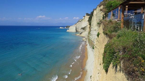 Sea, Ionic, Cliff, Lookout, 7heaven Corfu, Beach