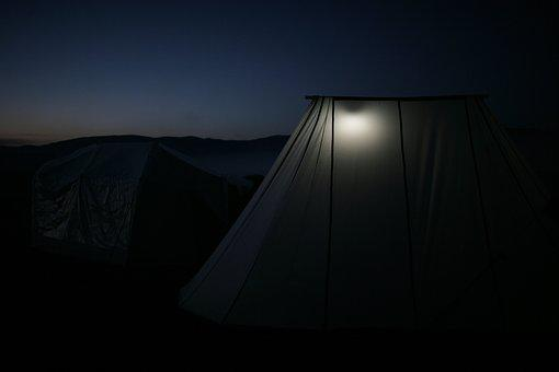 Outdoor, At Dusk, Night, Serenity, Tent, Light