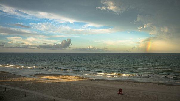 Beach, Sunset, Rainbow, Water, Sky, Sea, Sunset Beach