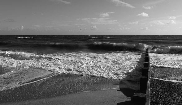 Black And White, Sea, Ocean, Black, Water, White