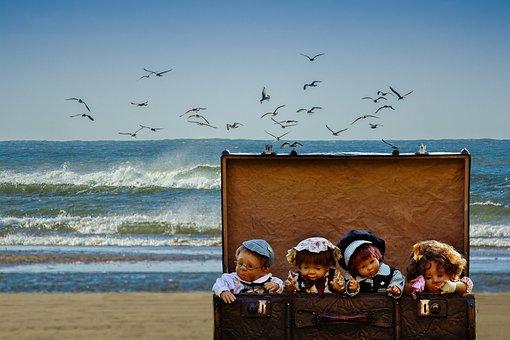 Luggage, Dolls, Beach, Gulls, Children, Cute, Travel