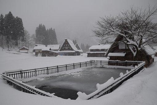 Frozen, Tsuganuma Village, Winter, Japanese Huts
