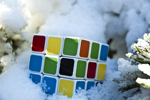 Rubik's Cube, Game, Cube, Winter, Game Outside