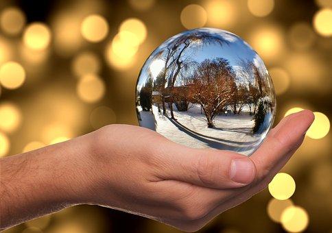 Glass Ball, Winter, Snow, Mirroring, Hand