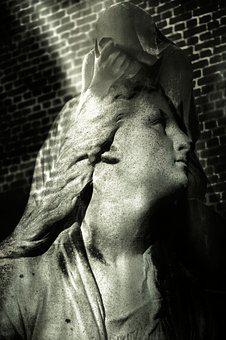 Surreal, Cemetery, Grief, Statue, Mourning, Grave