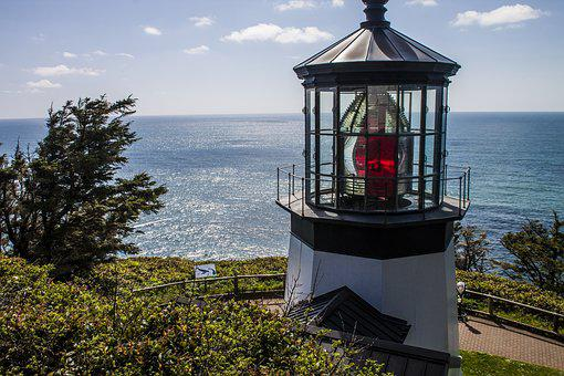 Cape Mears, Lighthouse, Pacific, Northwest, Oregon, Bay