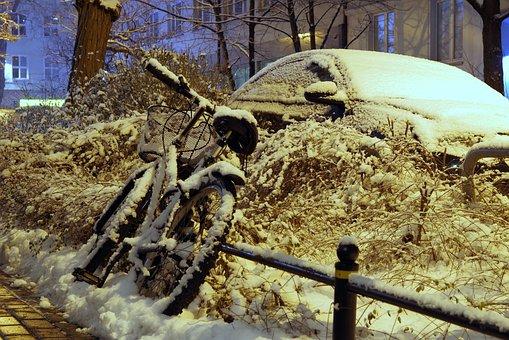 Winter, Blizzard, Snow, Buried, Zaspa, Road, City