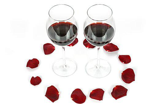 Two Glasses, Gift, Light, Rose, Wine, Glass, Alcohol