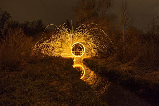 Long Exposure, Steel Wool, Night Photo