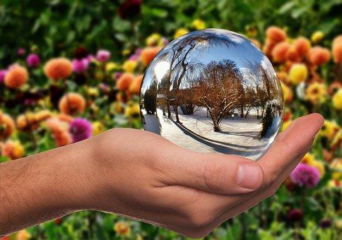 Winter, Summer, Contrast, Seasons, Hand, Ball