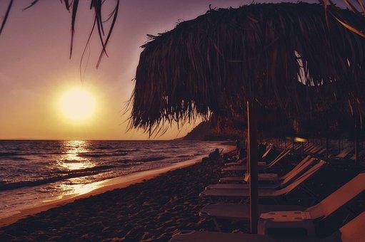 Sunset Beach Seascape, Sunbeds And Umbrellas, Seaside