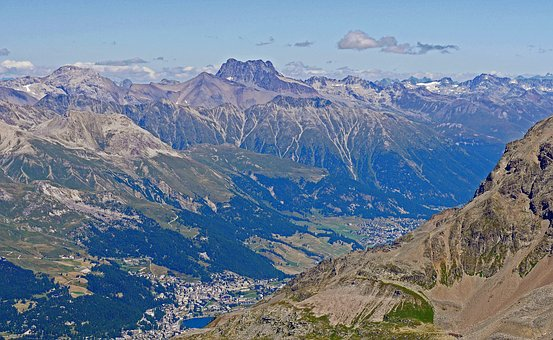 Switzerland, Oberengadin, St Moritz, Main Alpine Ridge