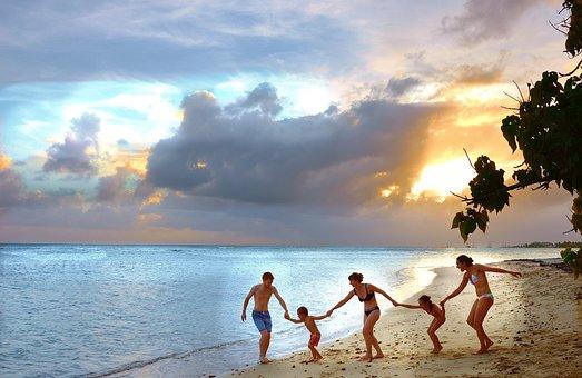 Family, Beach, Holiday, Joy, Happy, Cloud, Travel