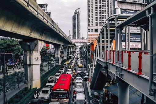Bangkok, Thailand, City, Cityscape, Urban, Cars, Trucks